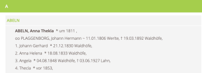 Personen- und Familienregister (Screenshot)